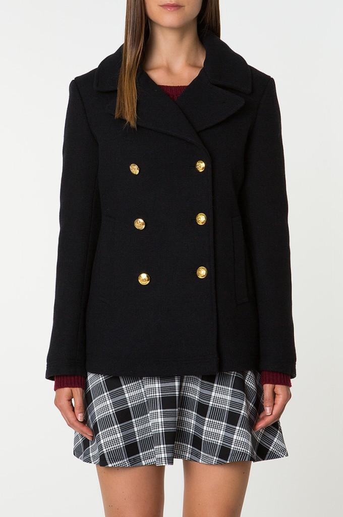 Cappotto corto in lana doppio petto