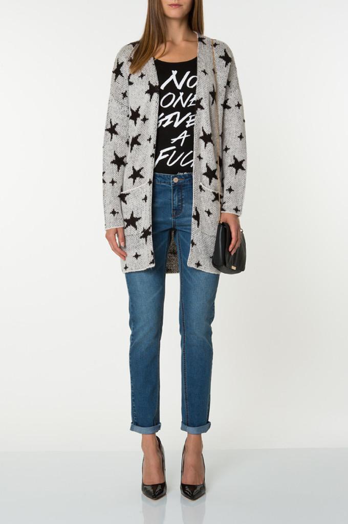 Jeans a vita alta_Girlfriend con maglia lunga