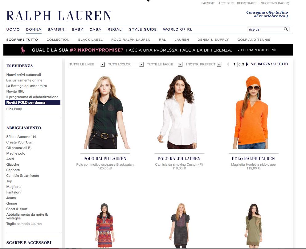 Finalmente sullo shop online è possibile acquistare la linea Polo Ralph Lauren anche per lei: le spese di spedizione sono gratuite