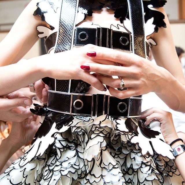 Dettaglio di pelle e organza dello stupendo abito fatto di fiori - McQueen SS 2015 - photo credits  @worldmcqueen on instagram