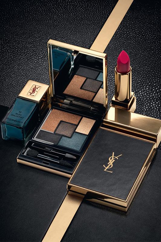 YSL Cuirs Fétiches,   tonalità brunite del nero e del bronzo luminoso, sono in contrasto con nuance naturali e rossi intensi perfetti per esaltare qualsiasi tipologia di carnagione