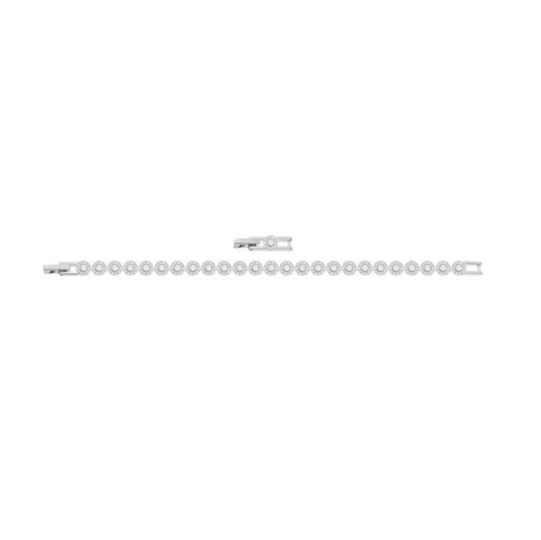 Un classico intramontabile. Il braccialetto rodiato propone una fila di Clear Crystal a taglio circolare, ognuno incorniciato dal pavé di Clear Crystal. Il gioiello si abbina perfettamente agli altri accessori