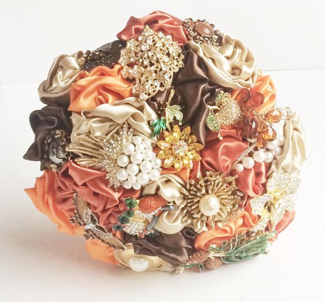 Tonalità autunnali per il bouquet Florio Design, via Esty.