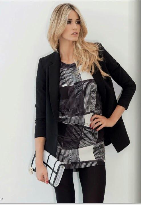 Look da giorno con abito corto black and white con giacca