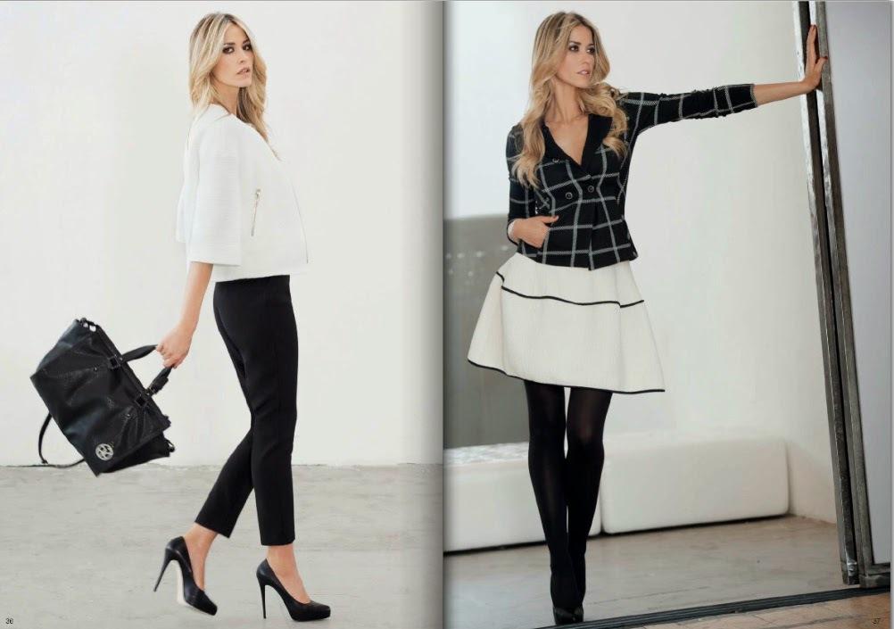 Eleganza da giorno nel completo giacchino corto white su pantalone stretto black (1) e aria sbarazzina per la gonna svasata (2)