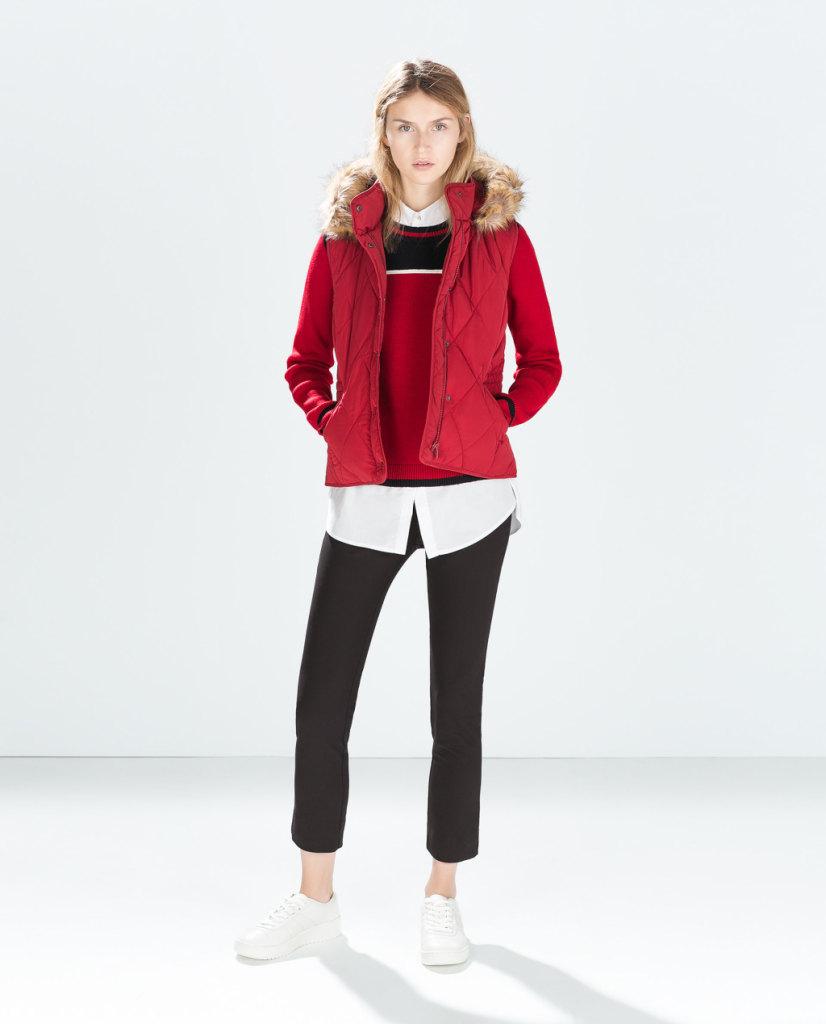 Gilet in pelliccia con cappuccio removibile, disponibile anche nella versione senza maniche, ZARA 25,95euro