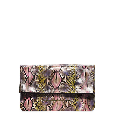 Janey Hand-Painted Python Clutch Michael Kors