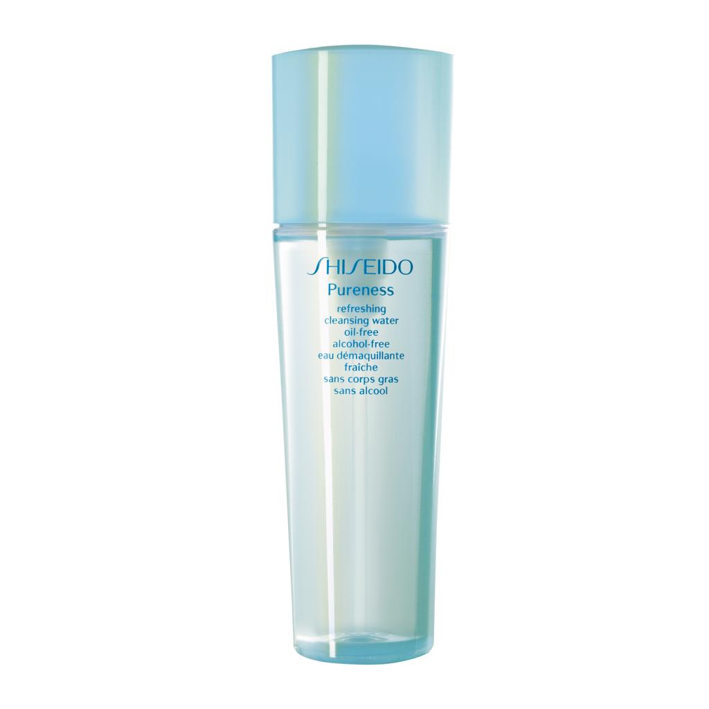 La refreshing cleansing water della linea Pureness di Shiseido ripristina e/o mantiene il naturale equilibrio cutaneo