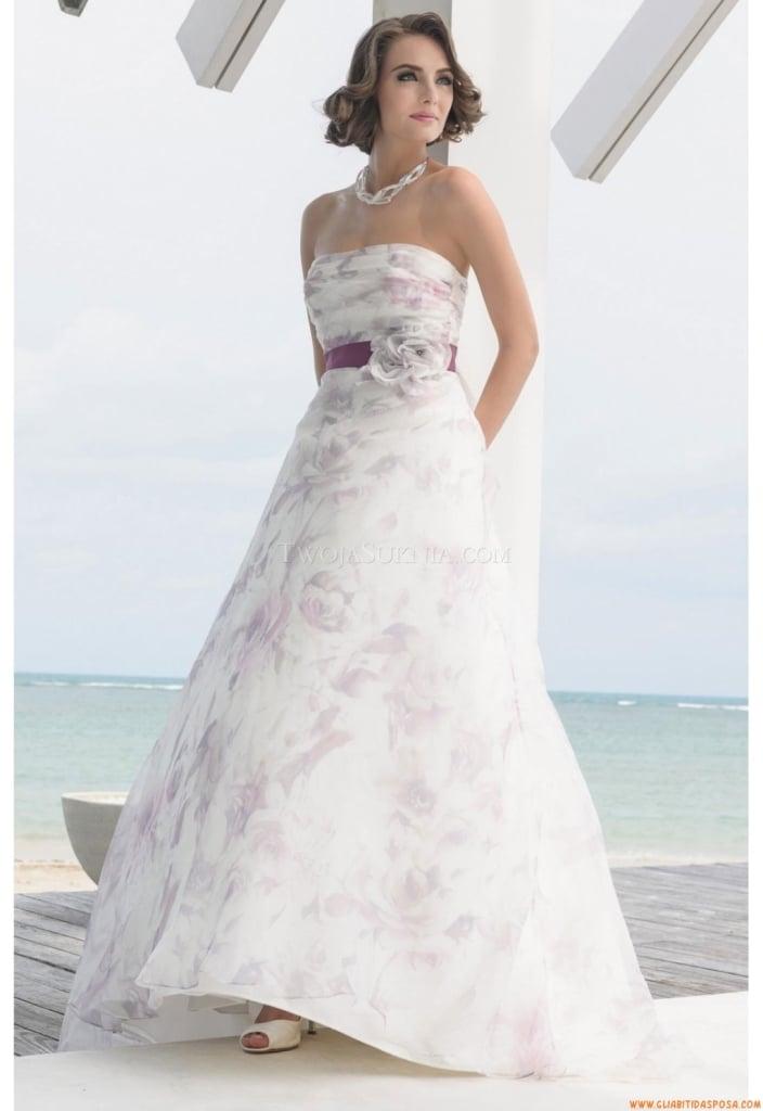 Elegantissimo abito nuziale due colori e a fantasia stretto in vita