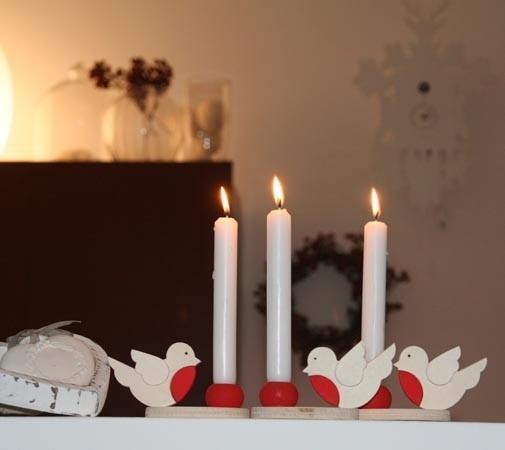 Porta candela con pettirosso - Nuvole di legno - 14.75 euro  su A Little Market