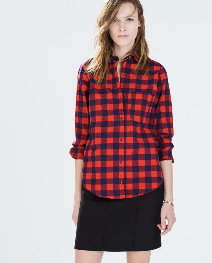 Camicia a quadri con taschino, un capo immancabile nel guardaroba di una giovane donna sportiva, ZARA 22,95euro