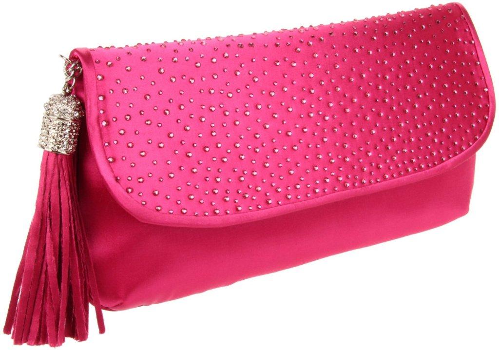 pink-clutch con punti luce e frangia