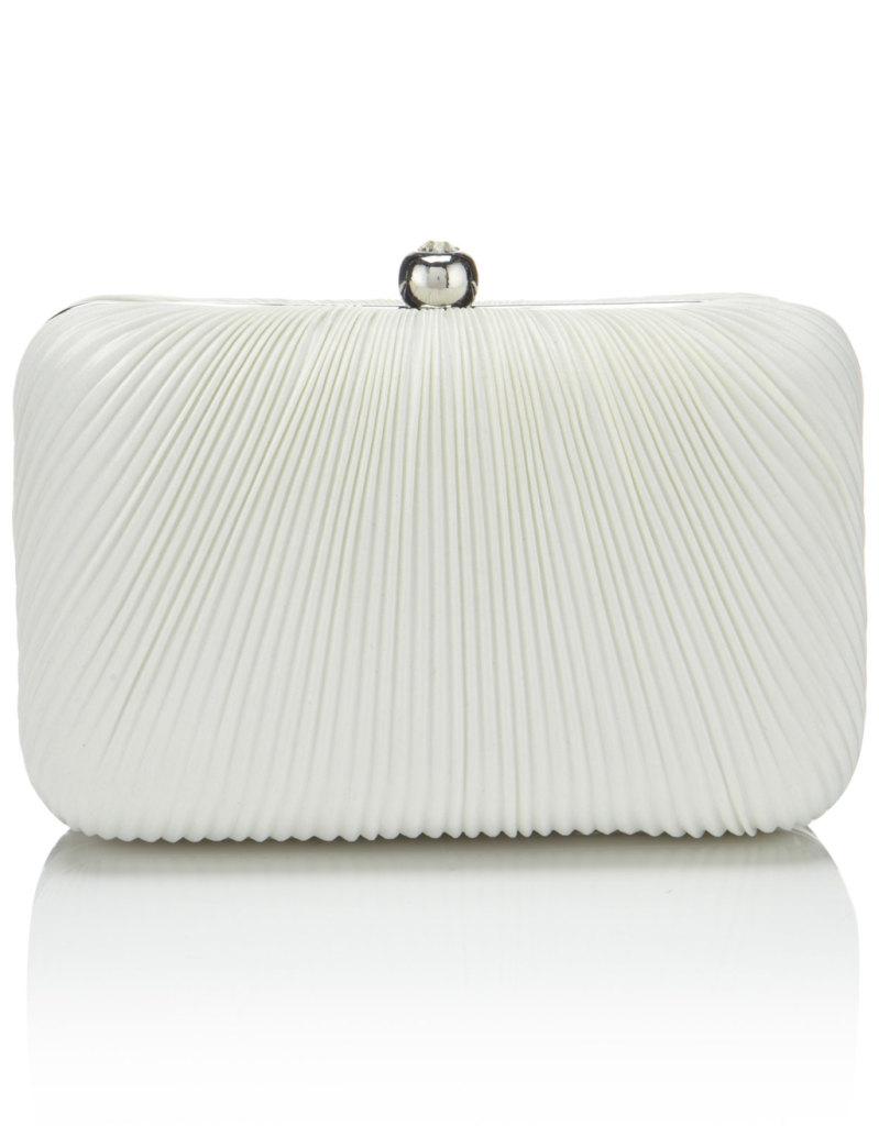 elegante pochette rigida bianca con chiusura in argento