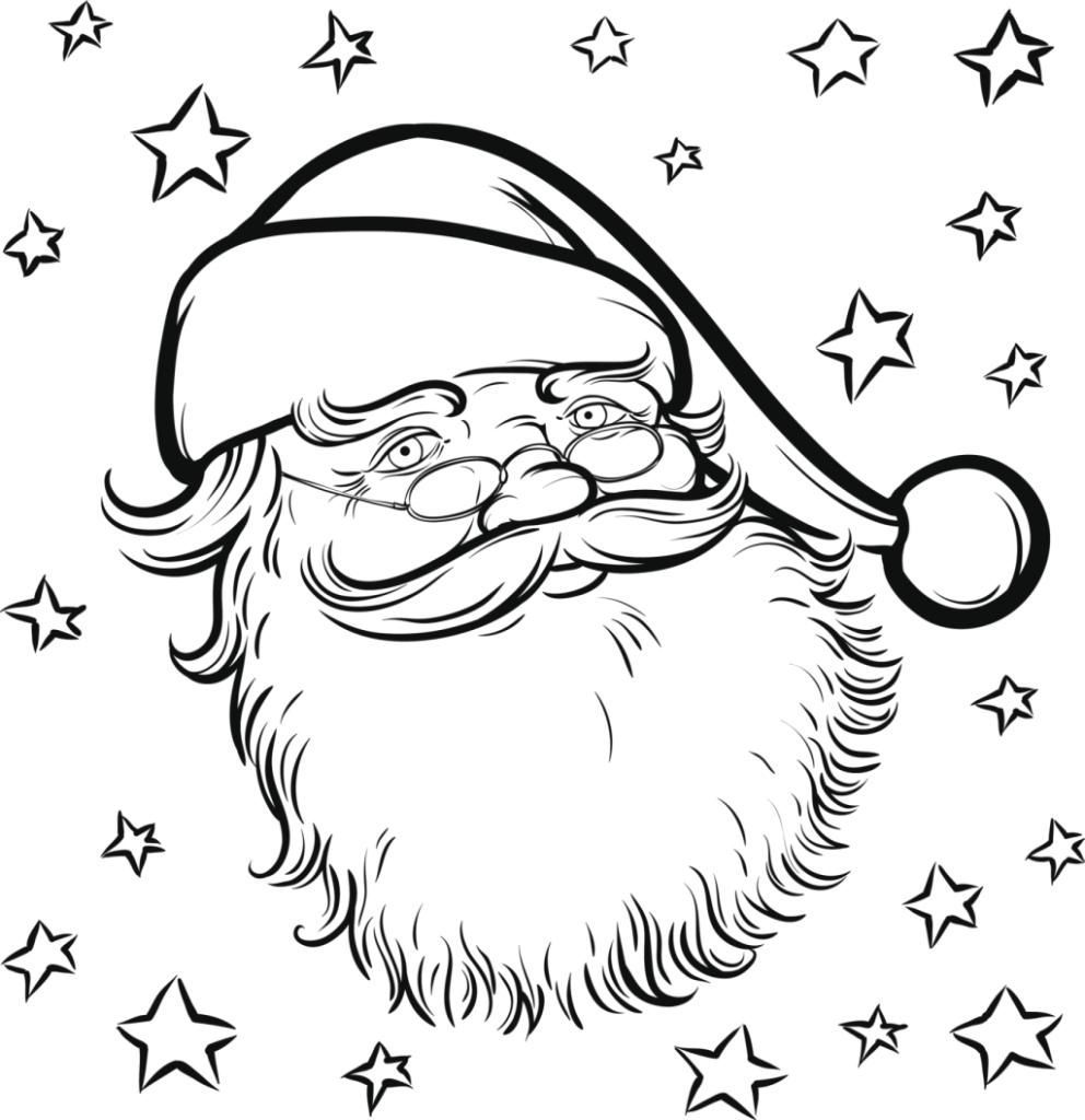 Disegni Babbo Natale Stelle da Colorare