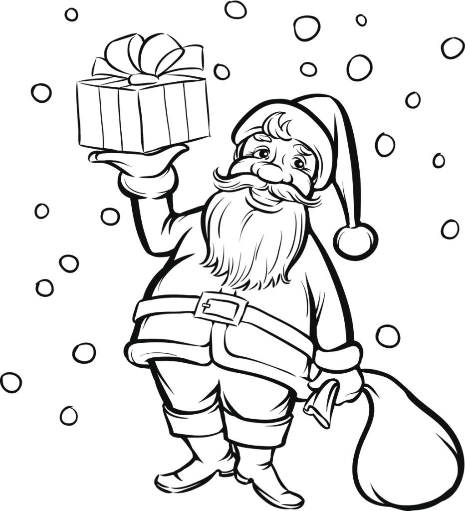 Disegni Babbo Natale Regalo da Colorare
