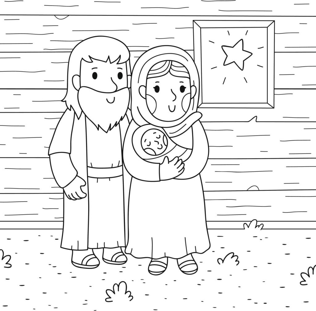 Disegno di Presepe Natale da Colorare