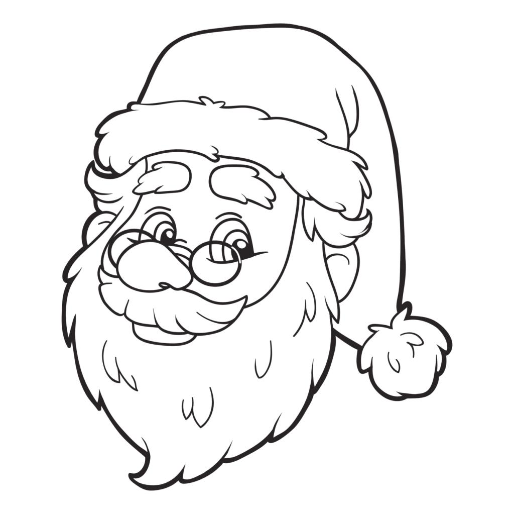 Disegni Babbo Natale Faccia da Colorare
