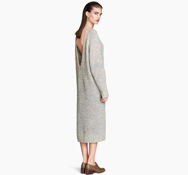 a52186b83b13 ... H M abito lungo in maglia di misto cotone mélange. Maniche lunghe e  profonda scollatura dietro ...