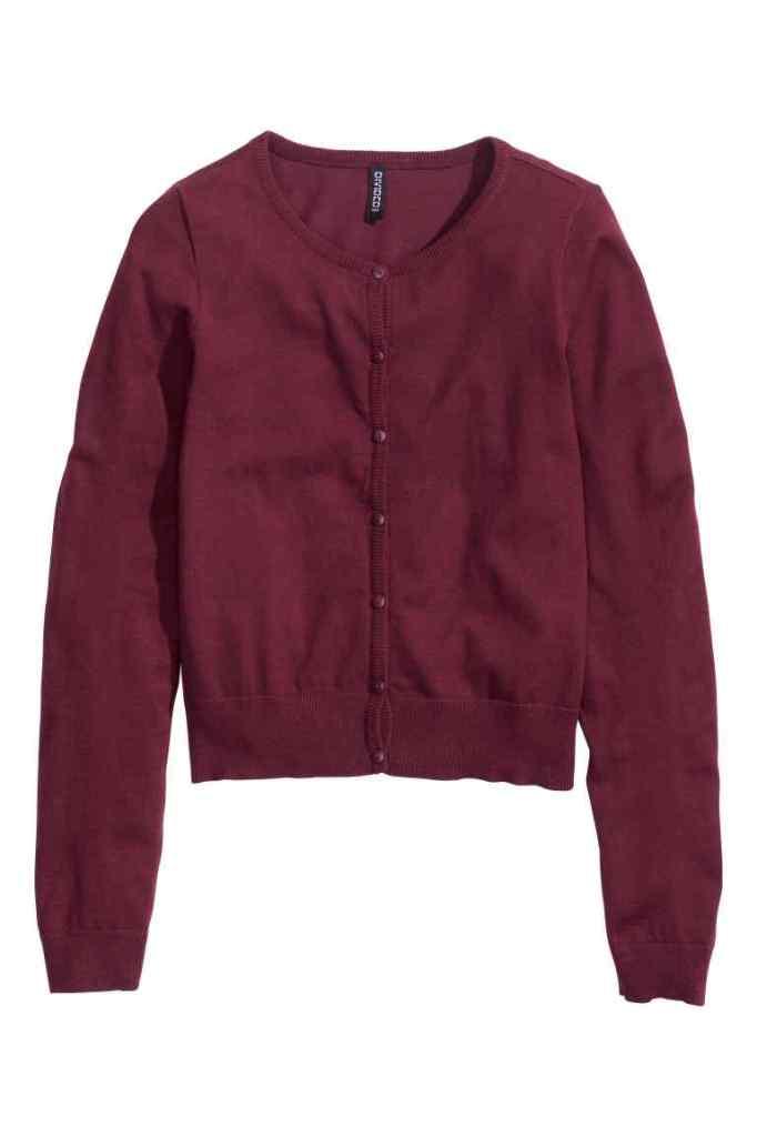 Il cardigan H&M color Marsala costa 9,99 euro