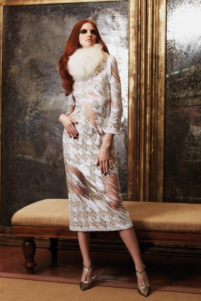 Laura Biagiotti, abito bianco con pied de poul, autunno inverno 2014 2015