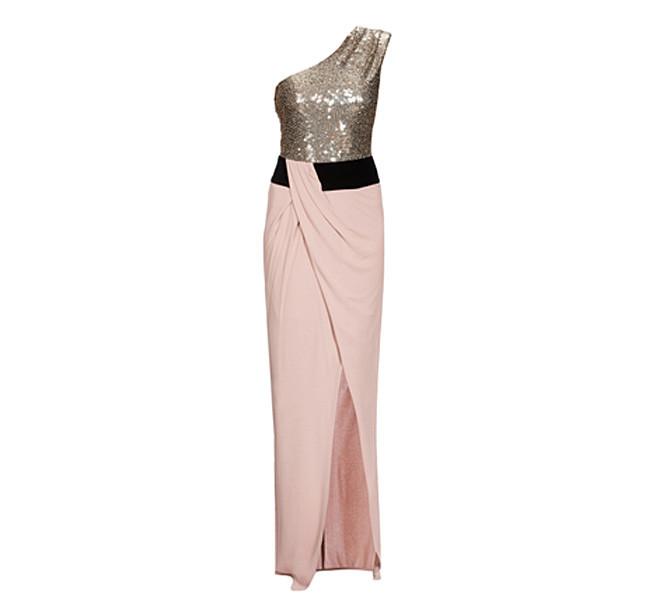 Pinko abito da sera con top smanicato decorato da brillanti paillettes e una gonna con piega obliqua.