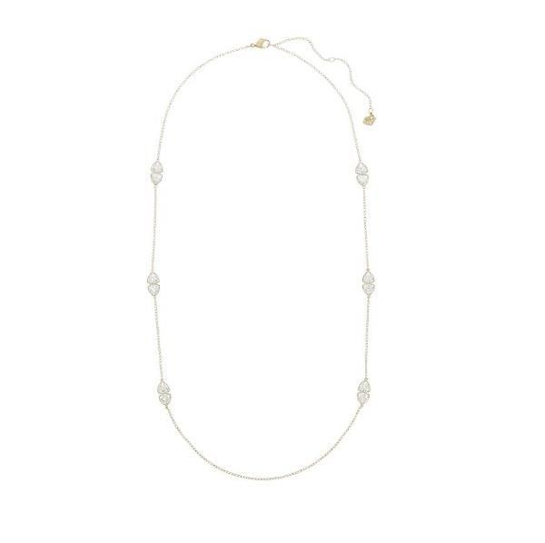 a collana in metallo PVD oro è impreziosita da coppie di Clear Crystal nell'esclusivo taglio Trillion Swarovski. Per un look à la page, ideale per l'ufficio o il tempo libero, sovrapponetela ad altri gioielli da indossare al collo