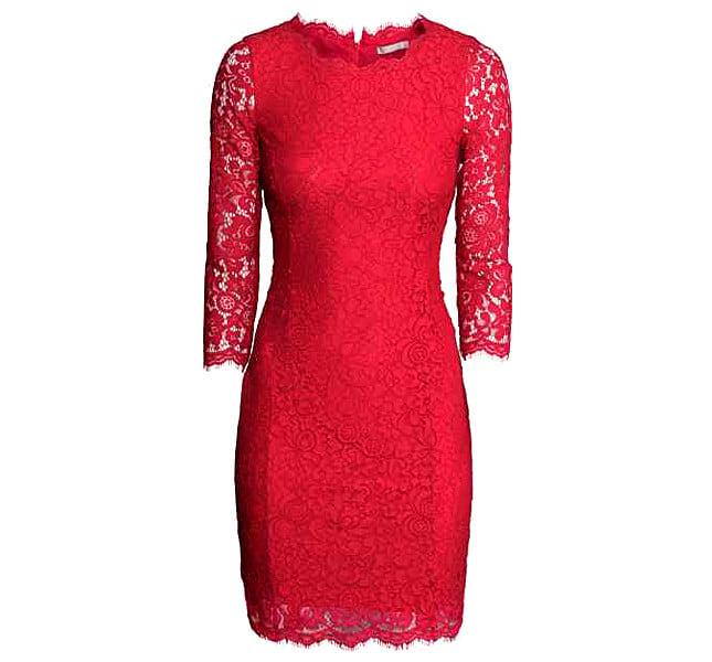 H&M abito rosso in pizzo con maniche a tre quarti, cerniera nascosta dietro.