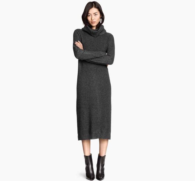f770d80af06d H M abito a maniche lunghe in morbido filato con lana. Collo alto e spacchi  laterali  H M abito lungo ...