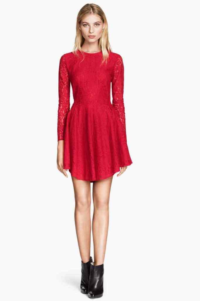 H&M- abito rosso in pizzo con maniche