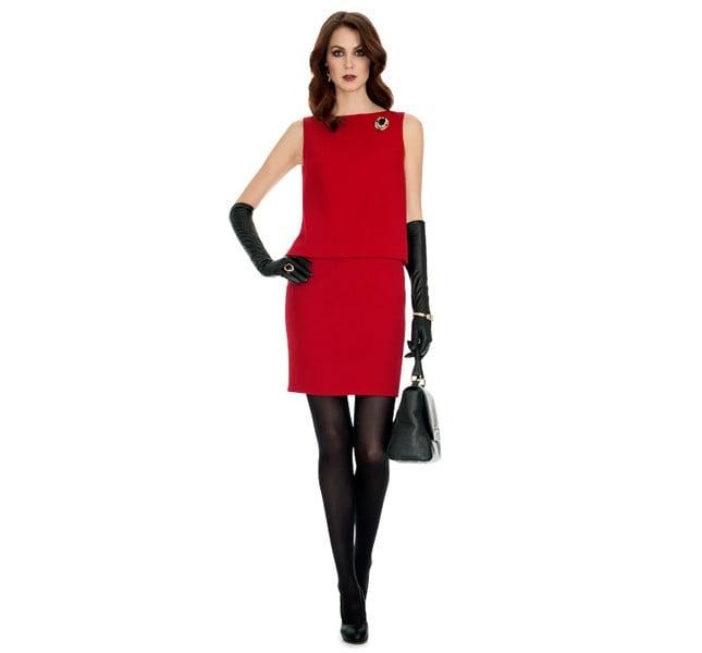 Luisa Spagnoli abito rosso in crepe di lana senza maniche.