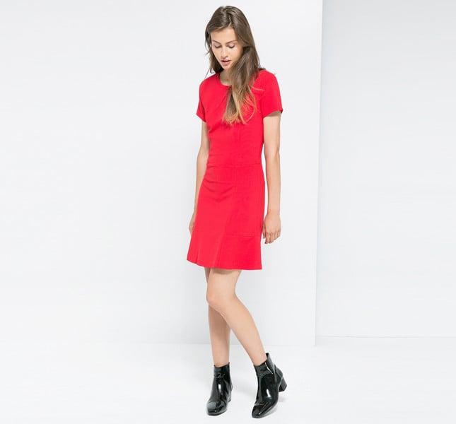 Mango vestito rosso con maniche corte e collo stondato.