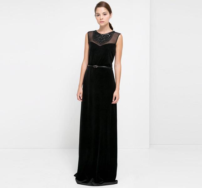 Vestito nero lungo lana