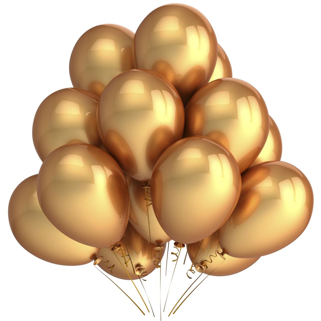 Palloncini dorati: ideali se appesi al soffitto o posizionati a mazzi di 3 o 5