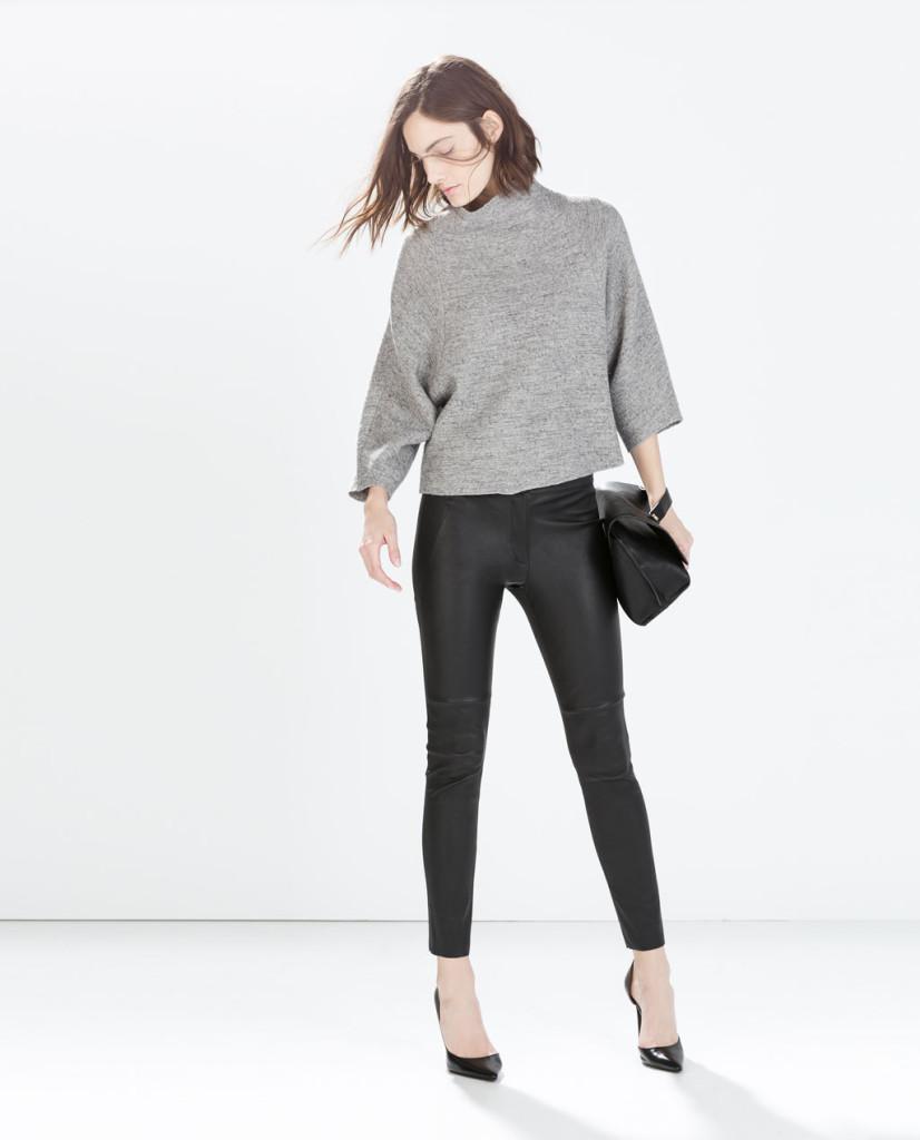 ZARA Pantalone in pelle e maxi maglia