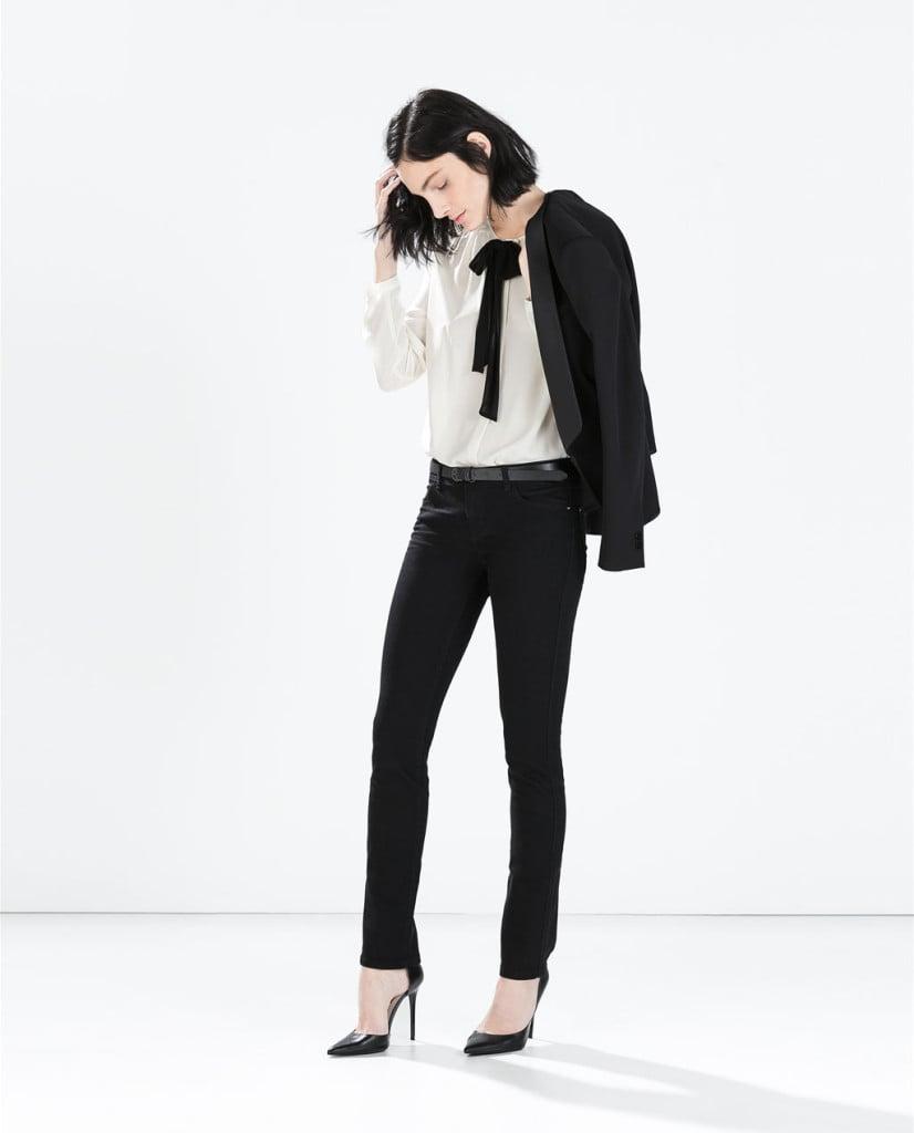 ZARA Pantalone nero e camicia con fiocco