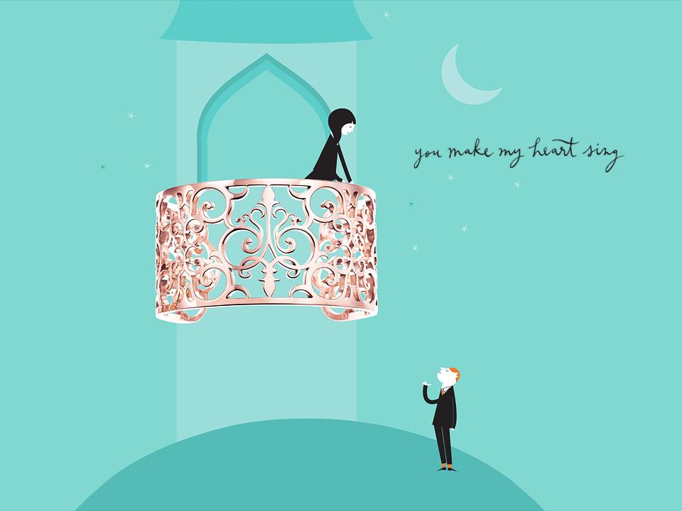 Anello d'oro a fascia Tiffany
