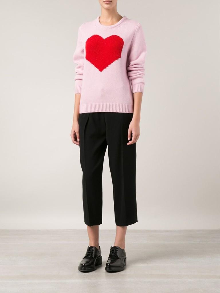 Maglione rosa a girocollo con cuore by Marc Jacobs