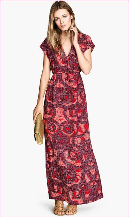 Vestito rosso lungo stampato H&M