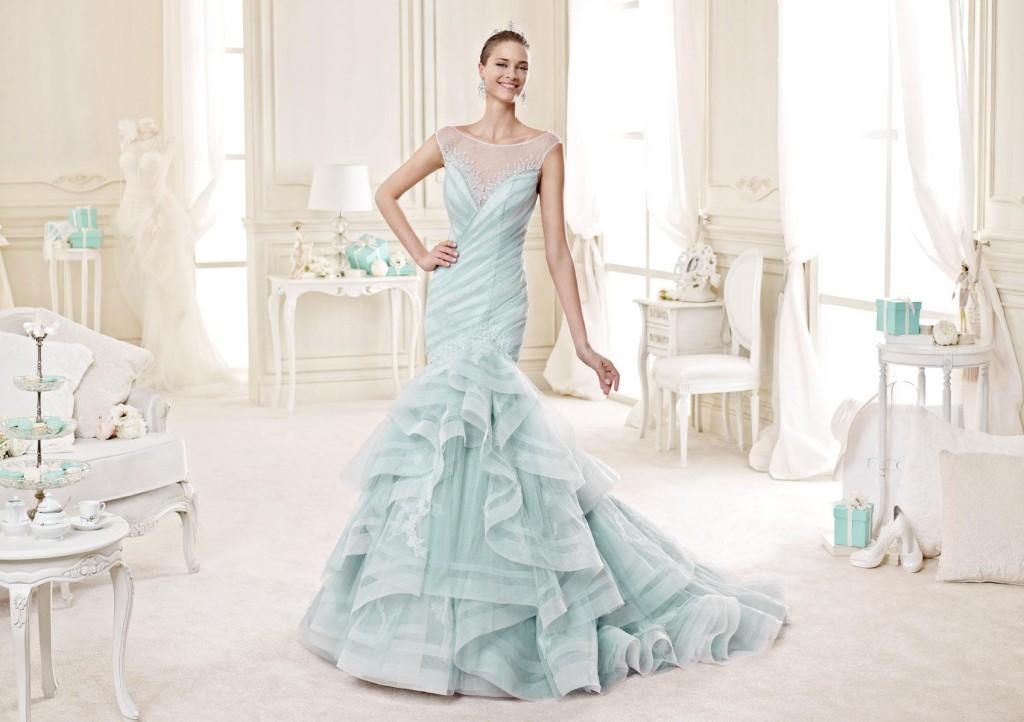 Nicole-spose-abito modello a sirena colore azzurro tiffany