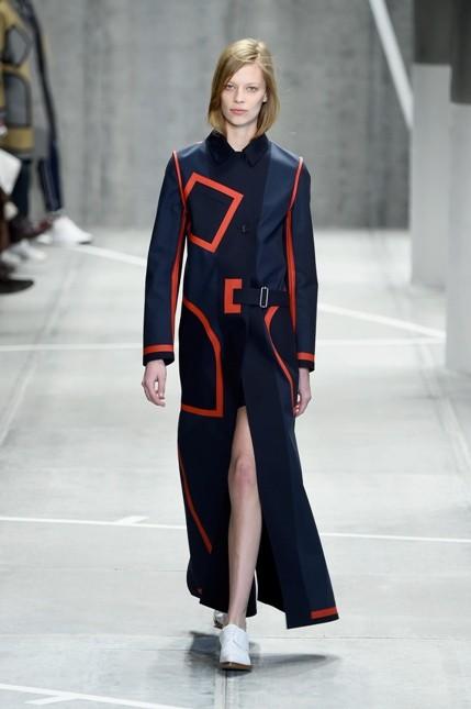 Lacoste FW 2015-206 giacca lunga con dettagli geometrici