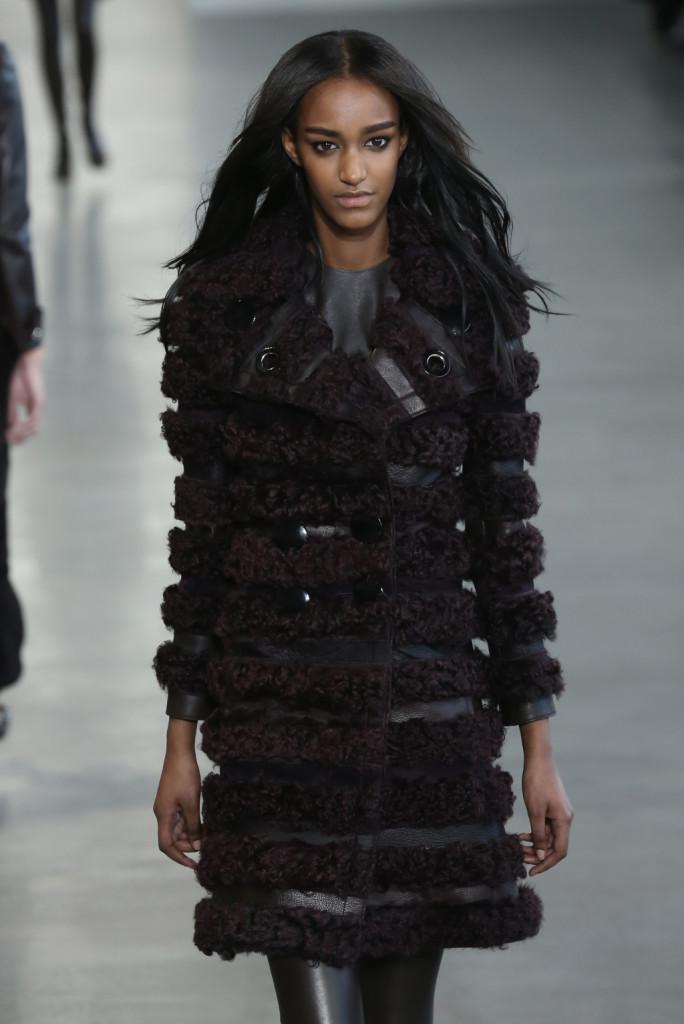Calvin Klein Collection - Cappotto doppiopetto in pelliccia e pelle