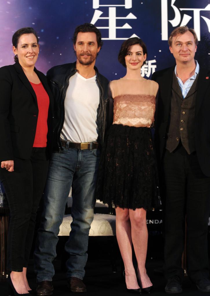 Emma Thomas, Matthew McConaughey, Anne Hathaway e Christopher Nolan alla conferenza stampa di presentazione del film Interstellar a Shanghai
