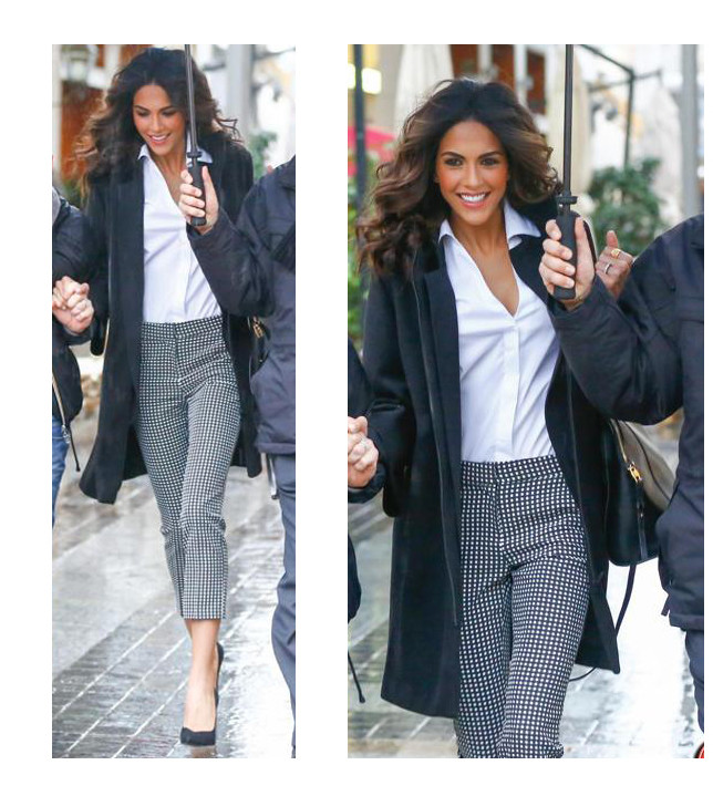 Rocio indossa il cappotto Roxette su camcia e pantalone Natasha