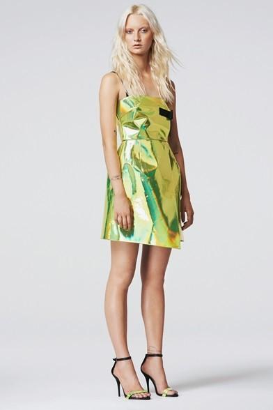 Vestito lime effetto iridescente