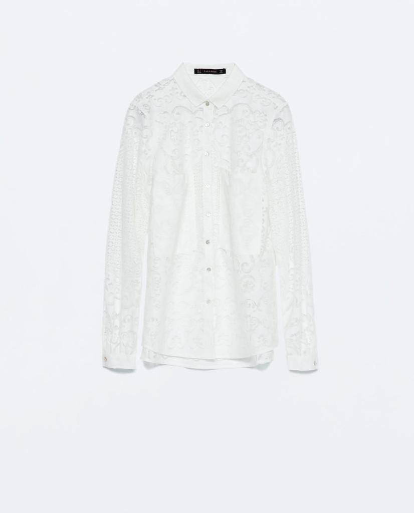 Camicia con inserti pizzo di Zara