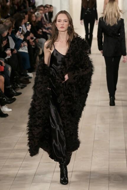 Abito lungo nero con pelliccia Ralph Lauren