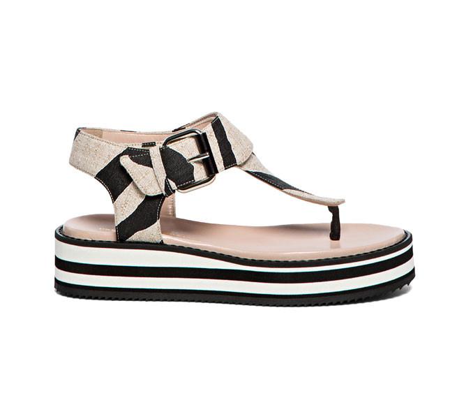 Sandalo zebrato con platform