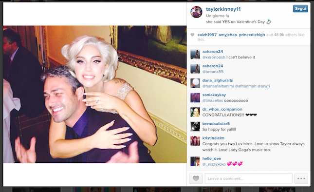 Lady Gaga e Taylor Kinney dal profilo Instagram di Taylor - credit @taylorkinney11 Instagram