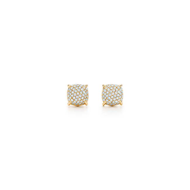 Tiffany & Co. orecchini in oro 18 carati con pavé di diamanti