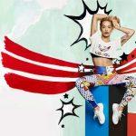 Rita Ora leggings e t-shirt collezione Adidas